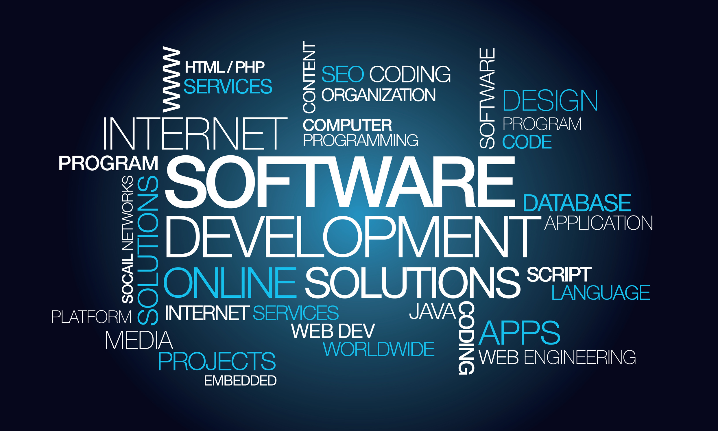 Software development apps computer programming word tag cloud